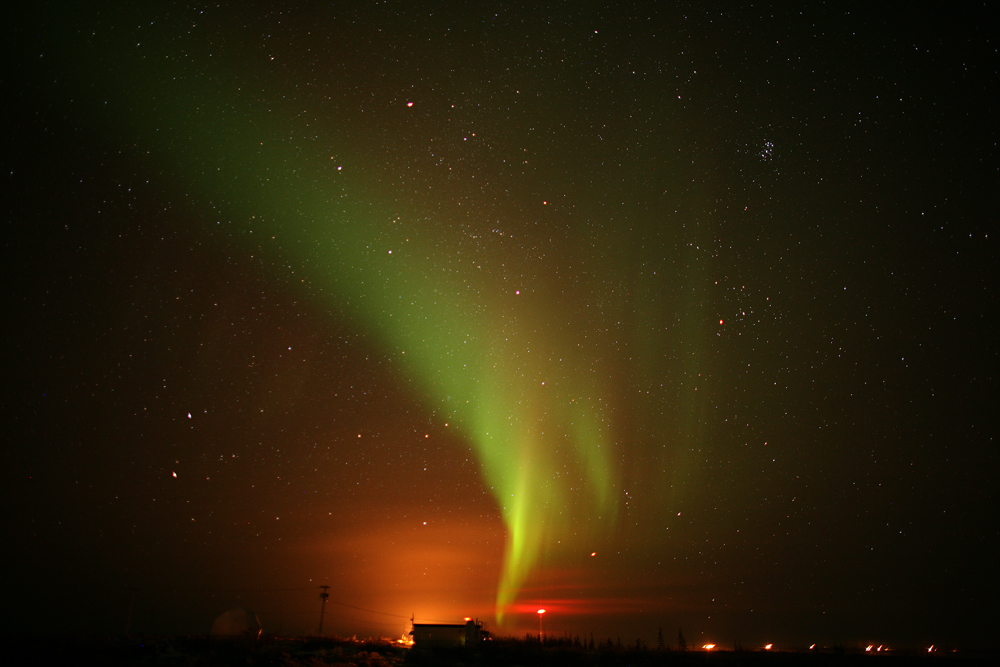 Churchill . Manitoba displays the amazing aurora.borealis.