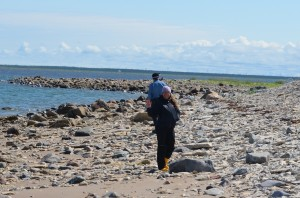 Walking the beach of the Hudson Bay.