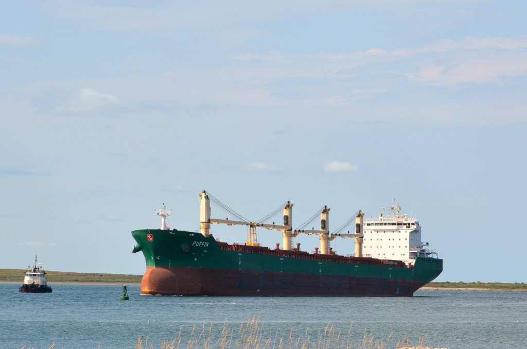 Grain ship awaits docking at the port of Churchill.