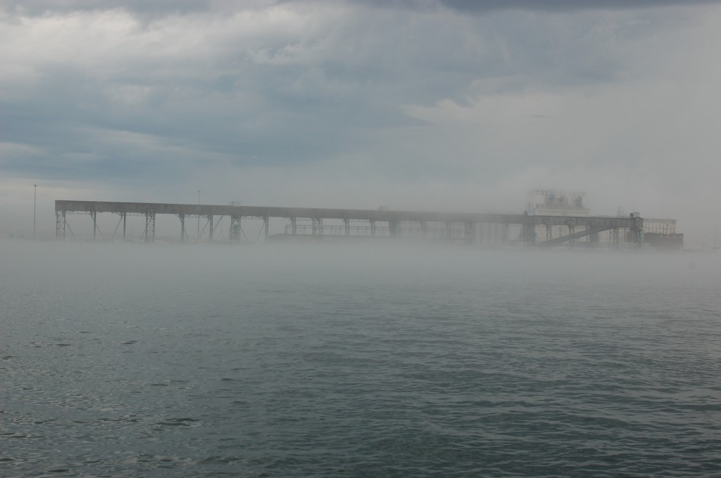 Foggy view of the Port of Churchill.