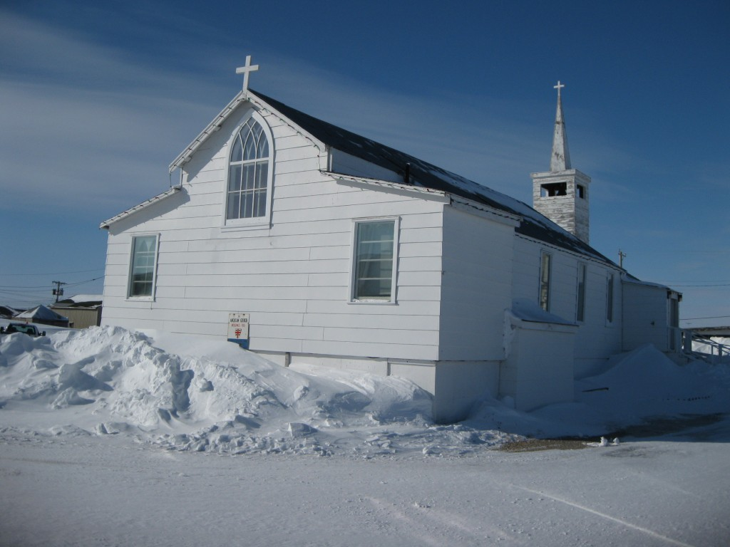 Snowy Churchill and the Anglican church on the Hudson Bay.