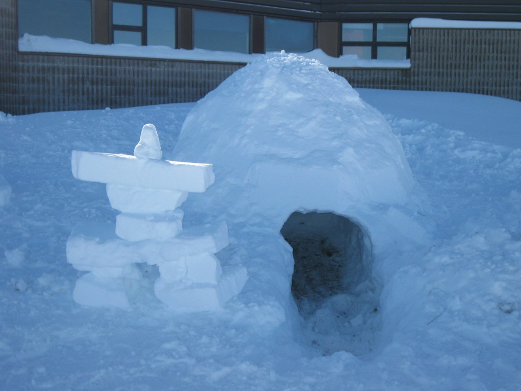 Igloo and inukshuk in the north.