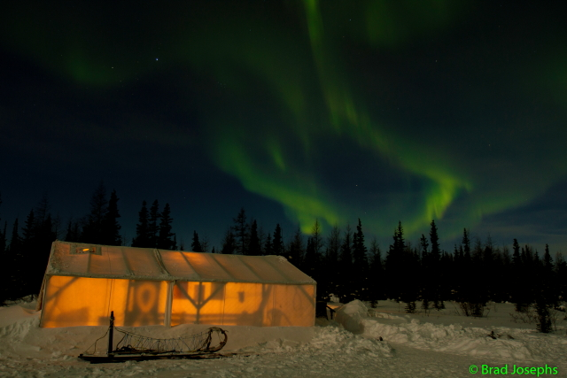 Churchill River mushing hut under the aurora.