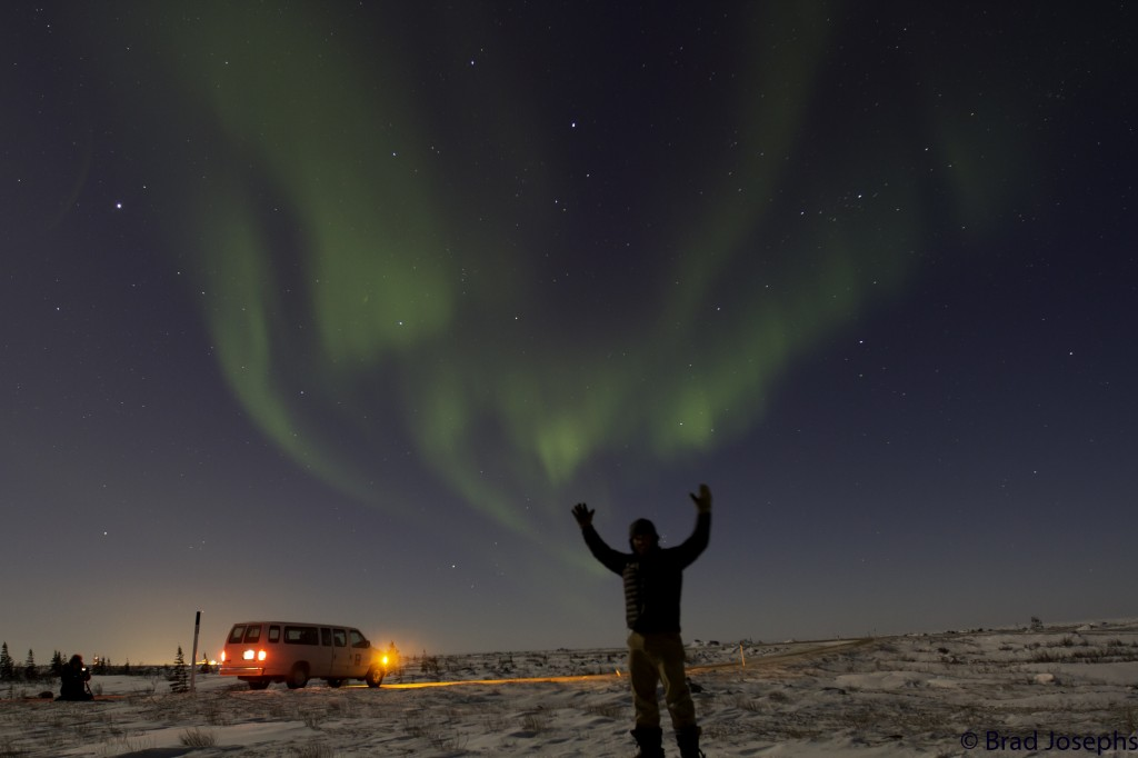 Northern lights above a warm van. Photo Brad Josephs.