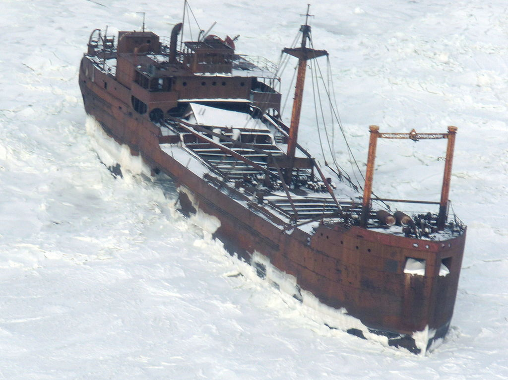 MV Ithaca shipwreck rests in Bird Cove in Churchill, Manitoba