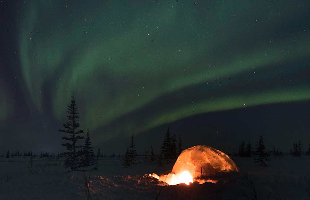 Aurora with igloo in foreground in Churchill, Manitoba. Justin Gibson photo.