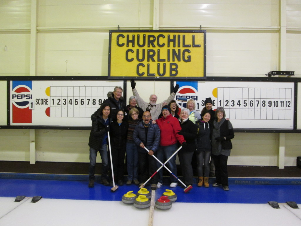 Churchill Curling club participants from Natural Habitat Adventures. Churchill, Manitoba.