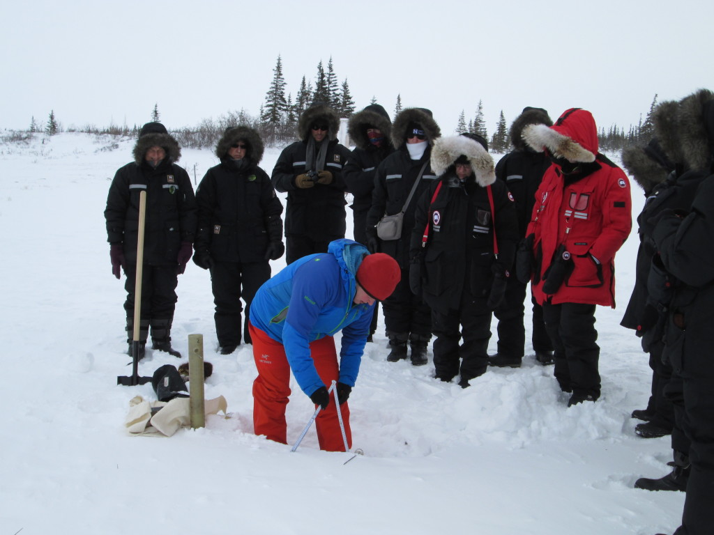 Snow sampling at the Churchill Northern Studies Center in Churchill, Manitoba.