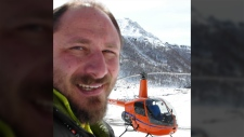 Sergei Ananov and helicopter