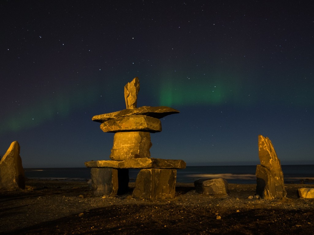Northern lights and inukshuk Churchill