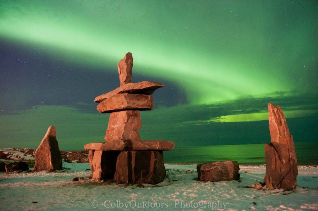 Hudson bay and Northern lights in Churchill, Manitoba