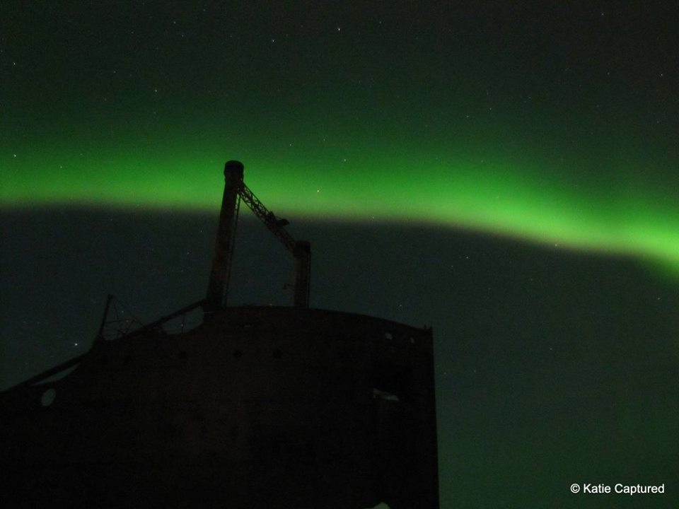 MV Ithaca northern lights Churchill, Manitoba