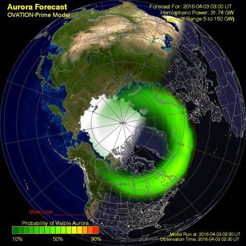 Aurora borealis forecast