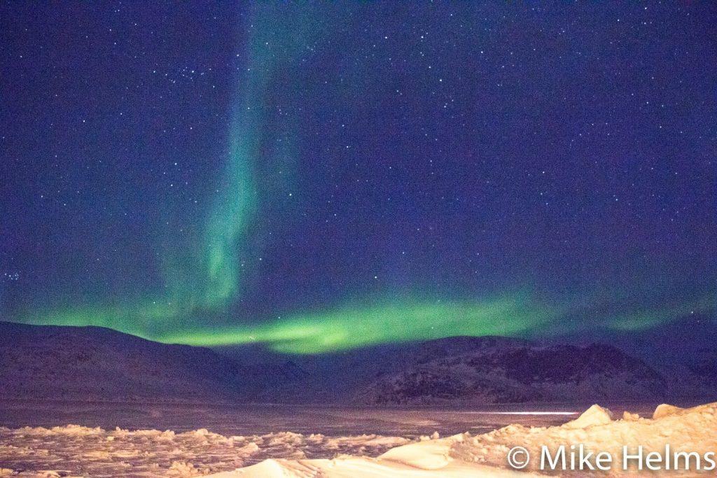 Northern lights over Pangnirtung, Nunavut