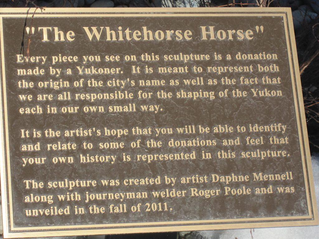 Whitehorse horse placard.