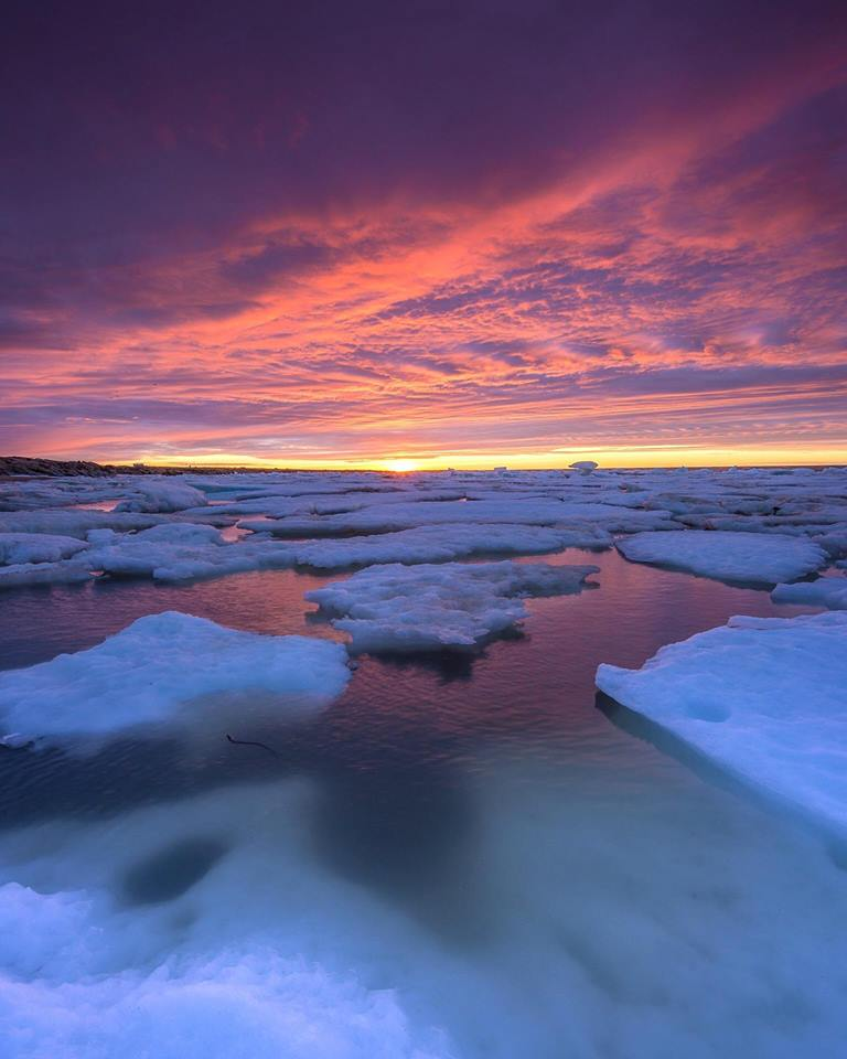 sunset over ice floes in Churchill