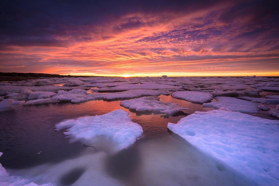 Churchill sunset and ice floes
