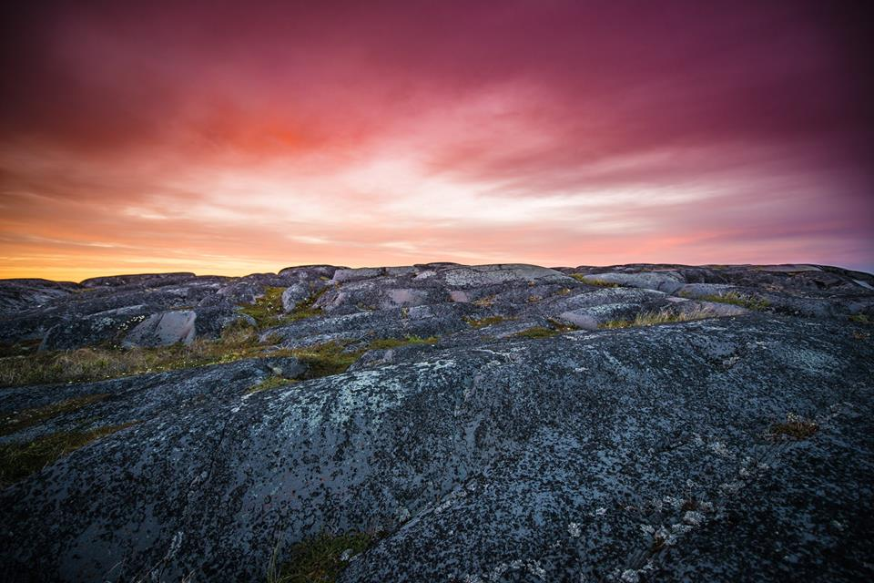 sunset over precambrian shield in Churchill