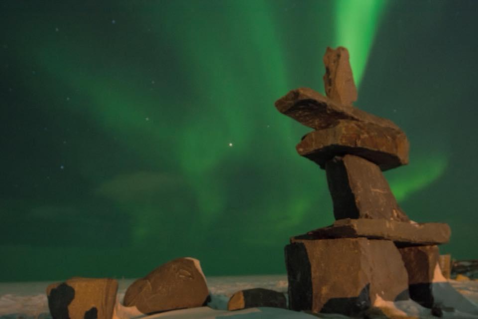 Inukshun Churchill Aurora Borealis