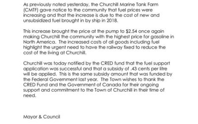 Fuel Subsidy Approved for Churchill